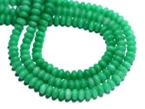 Jade Rondelles Facettées 4x2mm Vert Sapin Perles de Pierre Fil 39cm
