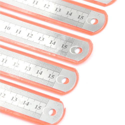 5 PCS Dual Side Marked 15cm 6 inch Stainless Steel Straight Ruler   X