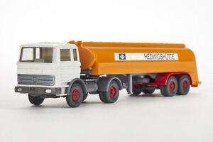 Lot-1711095-Wiking-Werbemodell-MB-L-1620-Tankzug-Hedwigshuette-altweiss-1970