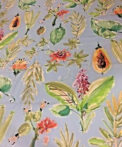 Brunschwig-and-Fils-034-Tahiti-034-Palm-Tropical-Fruit-Floral-Blue-Cotton-Fabric-BTY