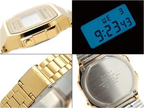 ae42458d776 Casio A168WG-9 Retro Gold Stainless Steel Illuminator Unisex Watch A ...