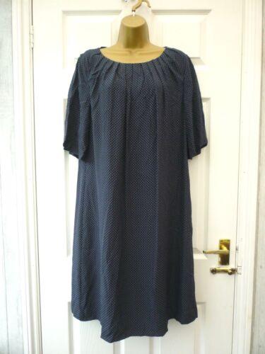 Neck White John Lewis Dress Size Shift 16 Pleat Blue Pin Dot Silk Spotty Ladies 8AX8R