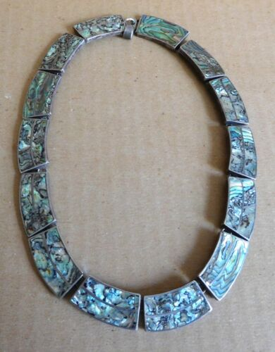 VINTAGE STERLING SILVER & ABALONE NECKLACE / CHOKE