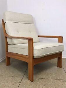 70er jahre teak sessel easy chair loungechair denmark danish modern design 70s ebay. Black Bedroom Furniture Sets. Home Design Ideas