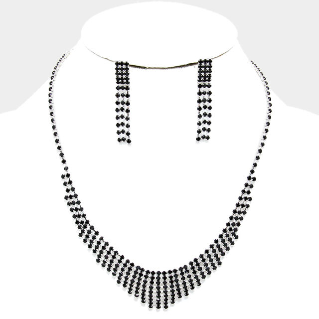 Conjunto de Collar Negro Diamante Cristal Daisy Proms Bridesmaids nupcial brillante 0241