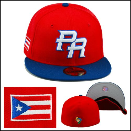 """New Era WBC /""""PR/"""" Fitted Hat Cap RED//ROYAL//Puerto Rico Flag Side Patch"""