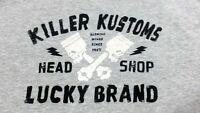 Lucky Brand Killer Kustoms Men T Shirt M Gray Cotton / Polyester Short Sleeve