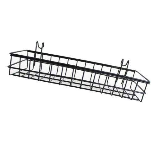 GRID PANEL HANGING TRAY 40X10CM 2 PACK WALL MOUNTED MESH WALL METAL WIRE BASKET