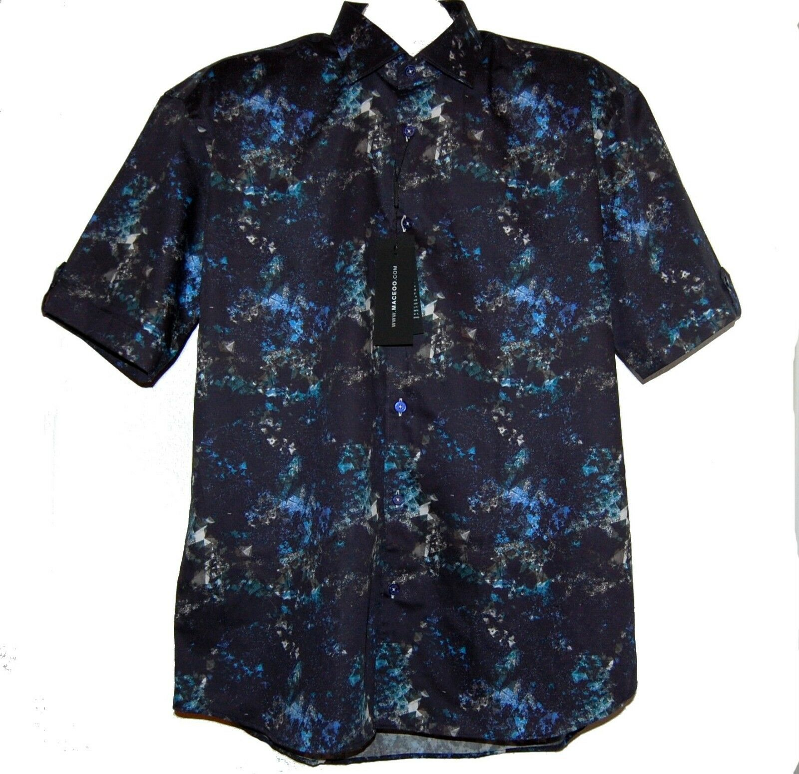 Maceoo Fresh PI bluee Italian Fabrics Cotton Men's Shirt Sz 5 XL NEW