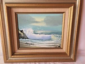 Vintage-Original-Camprio-Signed-Oil-On-Canvas-Painting-Ocean-Beach-Surf-8-X-10
