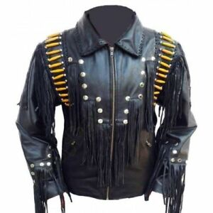 Giacca Bones Fringe Cowboy Black Wear Leather Western American Mens Beads gwq0Rzz