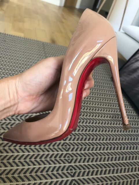 79e006219c7 CHRISTIAN LOUBOUTIN So Kate 120mm Pumps Patent Leather Nude Size 38 1/2