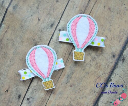 Hair Bows for Girls Toddlers Baby Hot Air Balloon Felt Hair Clips Set of Two