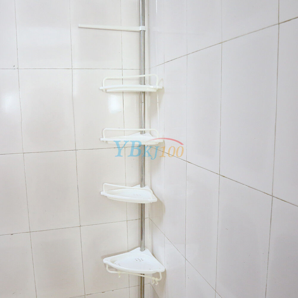 4 Tier Telescopic Adjustable Corner Shower Shelf Bathroom