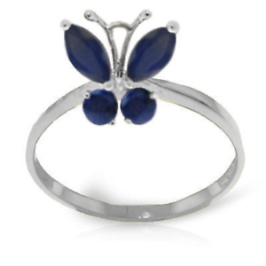 Details about  /Brand New 0.6 CTW 14K Solid White Gold Butterfly Ring Natural Sapphire