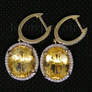 Jewelry-Sets-10x12mm-Solid-14Kt-Yellow-Gold-Diamond-Citrine-Earrings-E0003