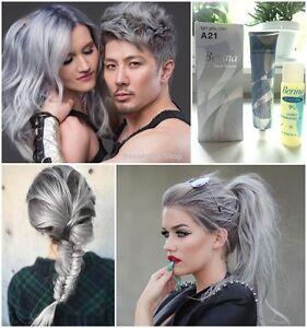 Berina A21 Light Grey Silver Smokey Color Permanent Hair Dye Cream ...