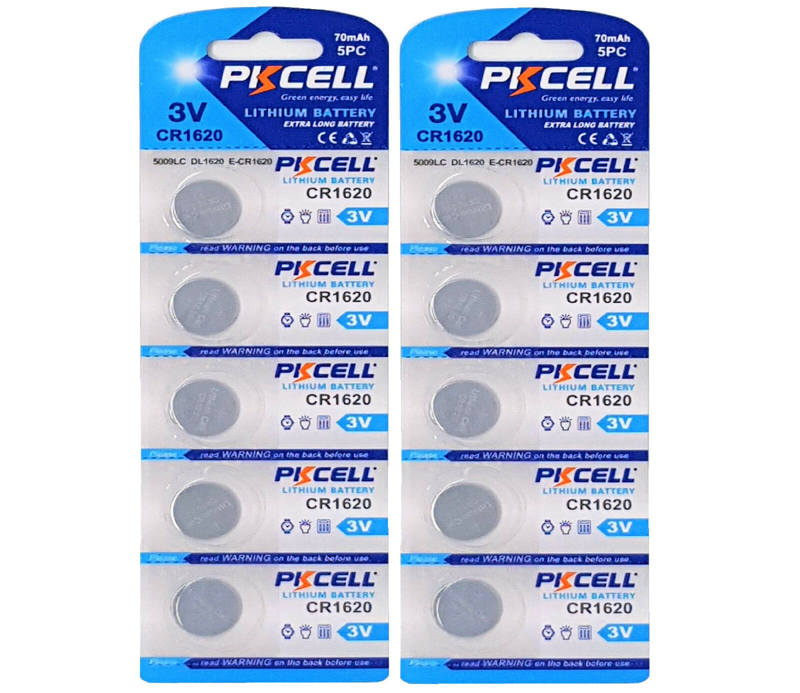 ☀ ☀ ☀ ☀ ☀ 10 x CR1620 3V Lithium Button Cell 70 Mah (2 Card A 5 batteries) PK