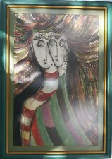 Original Signed Escobar 86 - Picasso Style Figures Mixed Media Painting