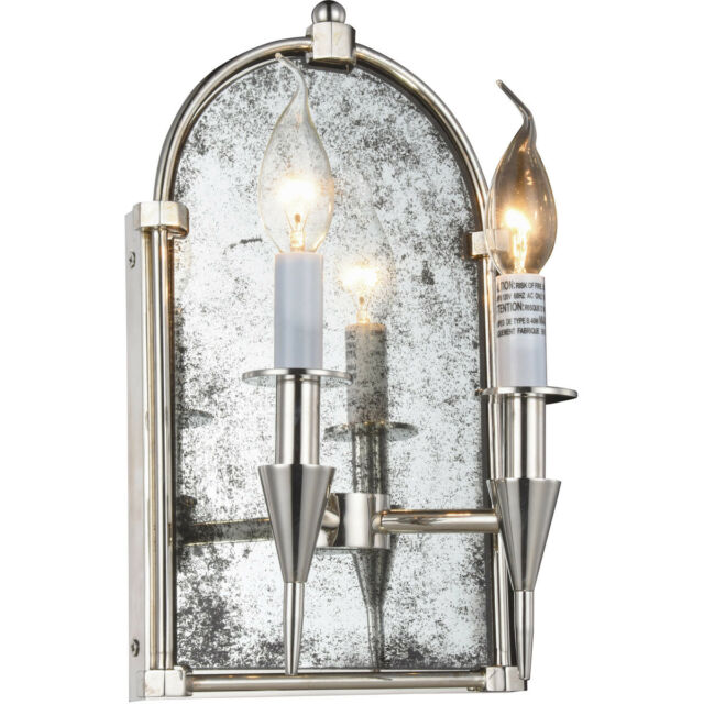 WALL SCONCE POLISHED NICKEL GOTHIC MIRROR DINING ROOM BEDROOM FOYER 2 LIGHT 14