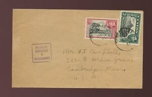CEYLON-TRINCOMALEE-BOXED-CENSOR-6-WW2-1941-to-USA-UNSEALED-MAIL-2c-3c