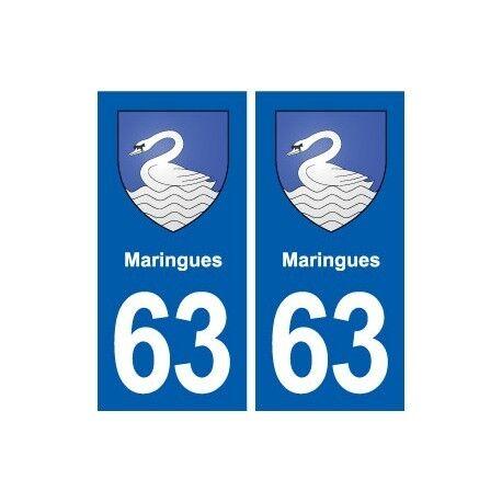 63 Maringues blason autocollant plaque stickers ville -  Angles : droits
