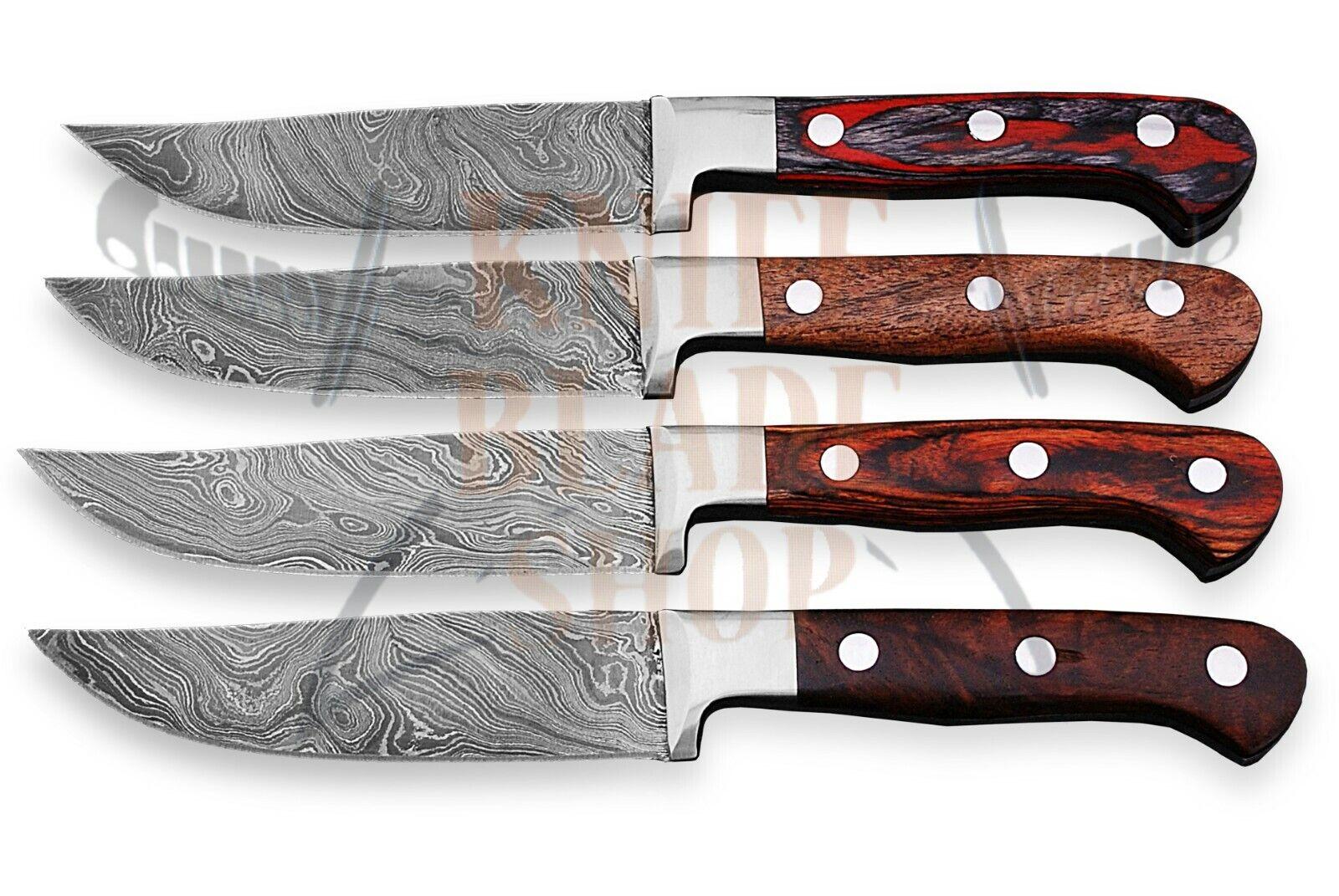 Damascus Steel  Blades ,STEAK Knife set     04 piece