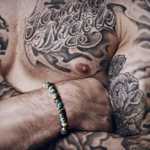 Bracelet-Homme-Femme-Pierres-Turquoise-d-039-Afrique-Hematite-bois-Lithotherapie-Men