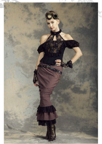 RQ-BL Steampunk Rock Kunst-Leder Gürtel Pin Up Gothic LARP Vintage Skirt SP145 C
