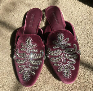 Antonio-Melani-Oguna-Jeweled-Velvet-Mules-Flats-Slip-On-Loafers-Burgundy-NWOB