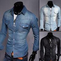 Stylish Men Denim Casual Shirts Long Sleeve Slim Fit Vintage Men's Jeans Shirts