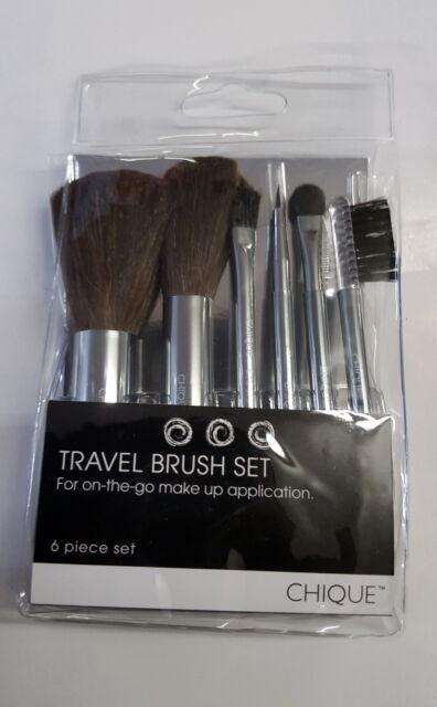 CHIQUE Travel Handy Handbag 6pcs Set Makeup Applicator Tool Blush Powder Brush+