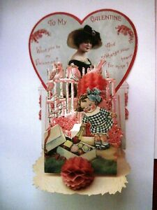 Adorable Pull- Down Vintage Valentine w/ Girl Taking A Piece of Candy From Box *