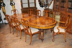 Image Is Loading Walnut Victorian Dining Table Queen Anne Chair Set