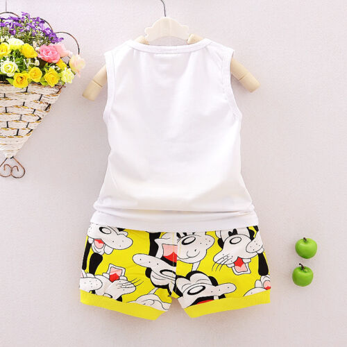 2PCS Toddler Kids Baby Boys Outfit Sleeveless Tops /&shorts Casual Clothes sets