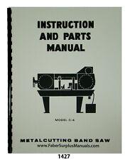 Doall Model C 4 Horizontal Metal Bandsaw Instruction Amp Parts List Manual 1427