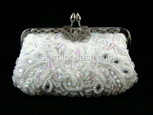 White Beaded Sequined Evening Purse Clutch Jewelled & Other Colors