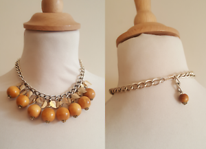 VINTAGE-1950s-mid-century-cluster-wooden-NECKLACE-1930s-style-leaves-botanical