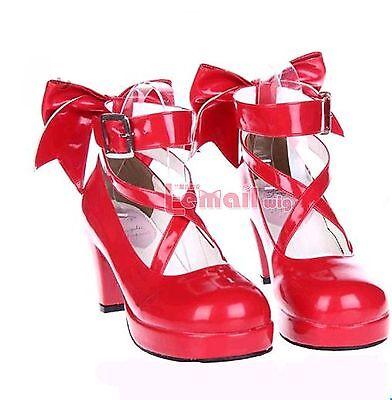 Puella Magi Madoka Magica Madoka Kaname Cosplay High Heel Lolita Red Shoes