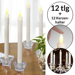 12 LED Stabkerzen Tafelkerze Echtwachskerze Kerzenhalter Glas flackernd warmweiß