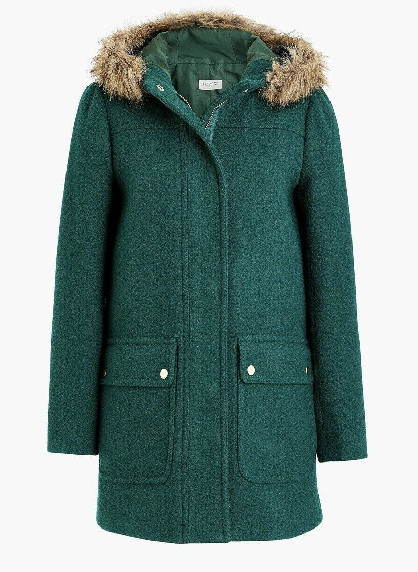 J.crew Factory Vail Parka Green Faux Fur Hooded Coat Sz 8