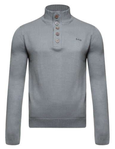 Lee Cooper New Men's Slim Fit Button Neck Jumper Knitted Fashion Winter Pullover