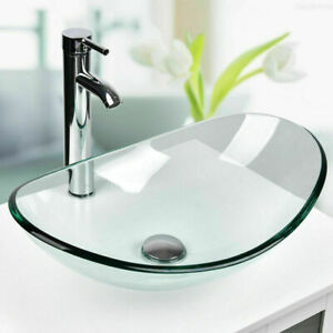 Modern Bathroom Glass Basin Sink Unit Above Countertop ...