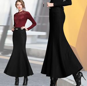 Hot Fashion Womens Slim Fishtail Pencil Skirt Mermaid Party Evening Dress Woolen