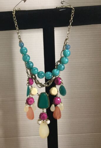 mauve yellow Seed bead vintage bib collar necklace bib necklace green seeds /& beads lilac teal
