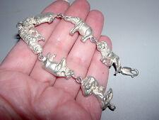 "Chunky Sterling Silver Safari Theme Bracelet w Six Figural Animals~7.25""~16.5G"