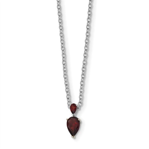 925 Sterling Silver with Gold-Tone Accent Garnet Necklace, 18 MSRP $282