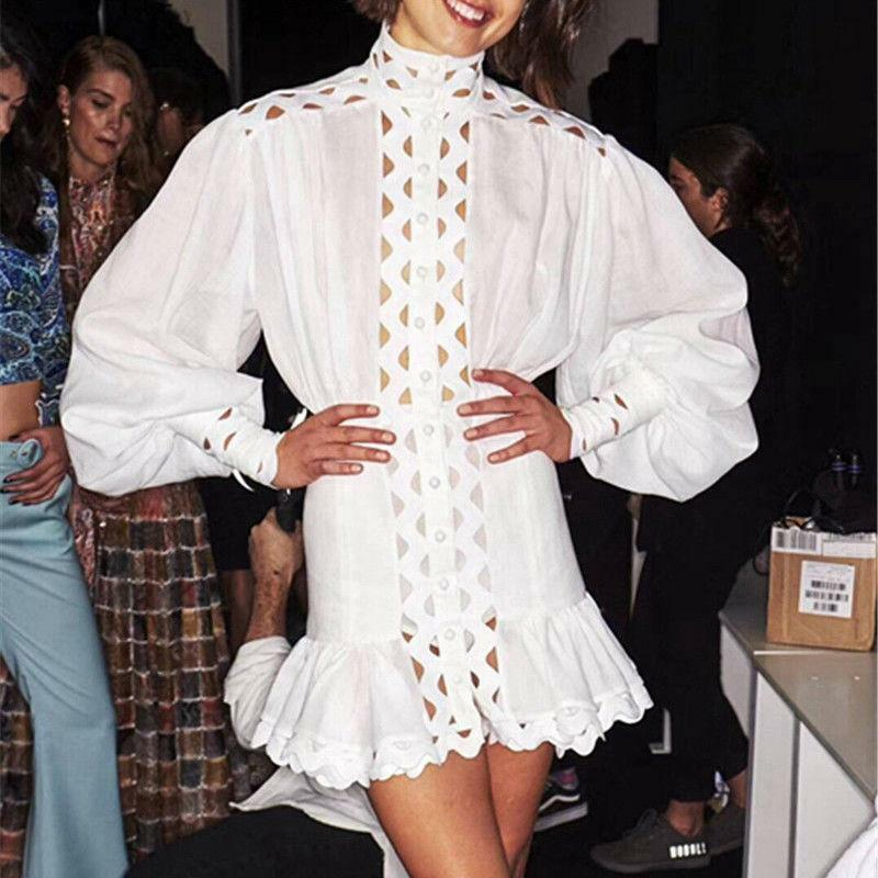 Womens Vintage Designer Runway Hollow Out Lantern Sleeve Ruffle Mini Dress New Y