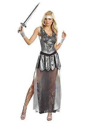 """NEW Women's Medieval Costume """"One Hot Knight"""" Silver Armor Dress Small"""