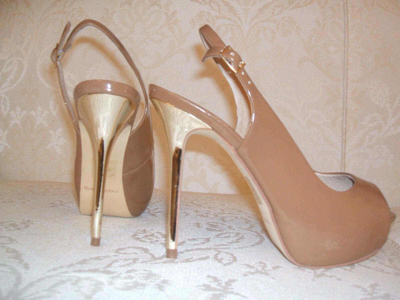 BNIB  SIZE  MODA IN PELLE SIZE  4 5 6 7 8 RAINY BLACK GOLD TAN SLINGBACK Schuhe b11b32